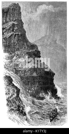 1870: A whaler in rough seas below Pleaskin Head, part of the Giant's Causeway, an area of about 40,000 interlocking - Stock Photo