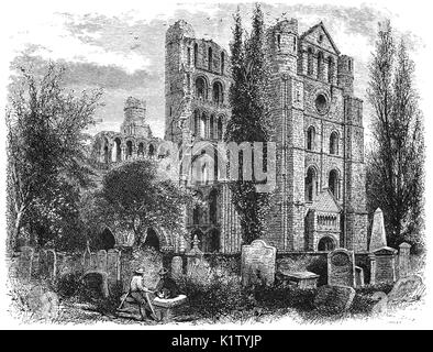 1870: Kelso Abbey is a ruined Scottish abbey in Kelso, Scotland. It was founded in the 12th century by a community - Stock Photo