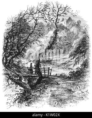 1870: A woman crossing a bruidge below Newark Castle, a ruined tower house standing in the grounds of Bowhill House, - Stock Photo