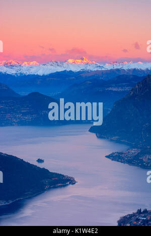 Iseo lake at dawn, province of Brescia, Italy - Stock Photo