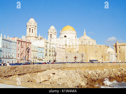 Cathedral from Campo del Sur. Cadiz, Spain. - Stock Photo