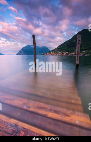 Europe, Italy, Iseo lake at dawn, province of Brescia. - Stock Photo