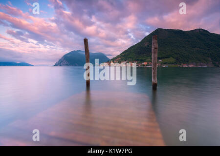 Iseo lake at dawn, Brescia province, Lombardy region, Italy, Europe. - Stock Photo