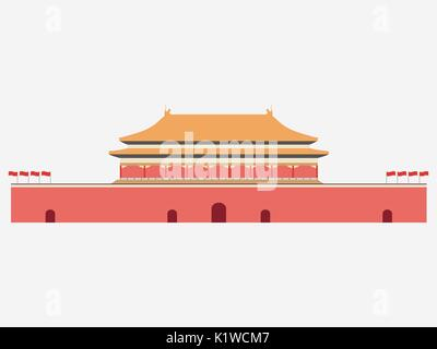Forbidden City. Gate of Heavenly Peace. Tiananmen Square. Beijing. Vector - Stock Photo