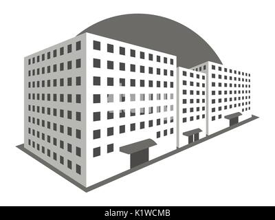 Buildings in perspective on a white background. The outline of the houses, the city in 3D. Vector illustration. - Stock Photo