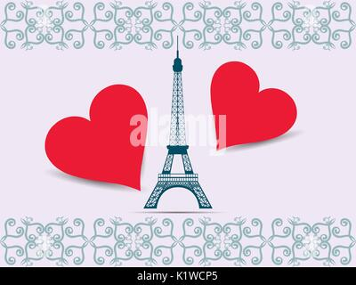 Eiffel Tower. Valentine. Postcard from the Eiffel Tower and the hearts. Vector illustration. - Stock Photo