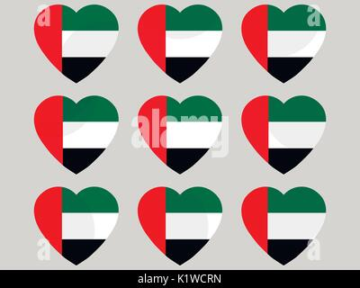 Heart with the flag of United Arab Emirates. I love the United Arab Emirates. United Arab Emirates flag icon set. - Stock Photo