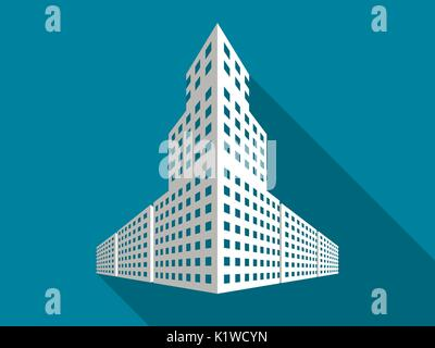 Multi-storey building with a long shadow. Flat icon. Vector illustration. - Stock Photo