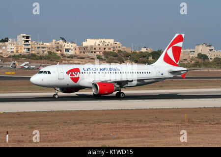 Air travel in the European Union. CSA Czech Airlines Airbus A319 passenger jet plane on the runway while taking - Stock Photo