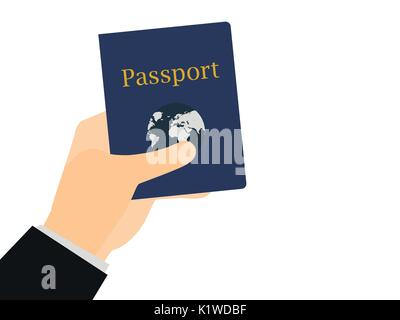 Hand holding a passport on isolated white background. The document for the trip, emigration abroad. Vector illustration. - Stock Photo