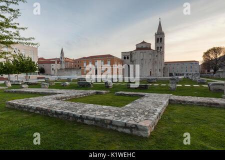 Church of St. Donat and historical artifacts at the Roman forum in Zadar, Dalmatia, Croatia - Stock Photo