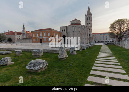 Church of St. Donat and historical artifacts at the Roman forum in Zadar, Dalmatia, Croatia - Stock Photo