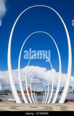 Spanda sculpture along the waterfront promenade of Elizabeth Quay, Perth, Western Australia, Australia - Stock Photo