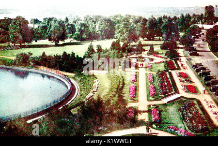 A colored view of Volunteer Park, Capitol Hill Seattle, USA in 1933 - Stock Photo