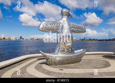 First Contact sculpture along the waterfront promenade of Elizabeth Quay, Perth, Western Australia, Australia - Stock Photo