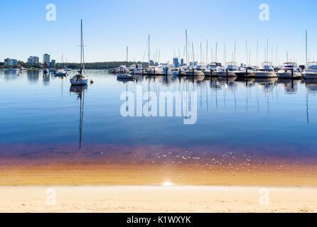 Boats moored at Royal Perth Yacht Club in Matilda Bay on the Swan River, Crawley, Perth, Western Australia - Stock Photo