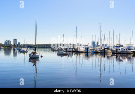 Boats moored at Royal Perth Yacht Club in Matilda Bay on the Swan River, Crawley, Perth, Western Australia - Stock Photo
