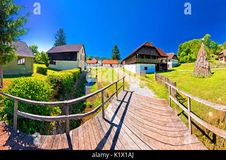Traditional village of Kumrovec in Zagorje region of Croatia panoramic view, birth place of Josip Broz Tito - Stock Photo