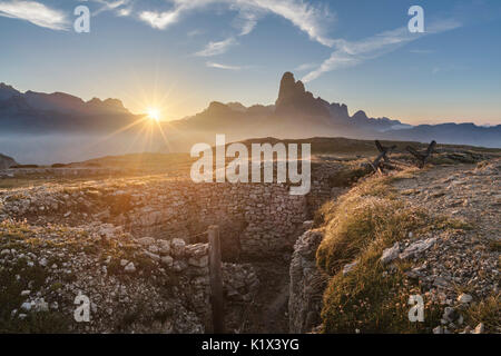 Europe, Italy, Veneto, Auronzo di Cadore. Trenches of the First World War on Mount Piana, Dolomites - Stock Photo
