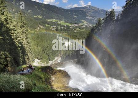 europe, Austria, Salzburg Land, Krimml, Hohe Tauern National Park, rainbow over the Krimml Waterfalls - Stock Photo