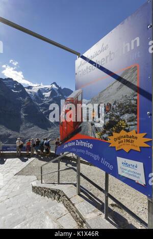 Europe, Austria, Carinthia. Tourist Info panel to the Funicular railway near the Kaiser-Franz-Josefs-Höhe at Grossglockner, - Stock Photo
