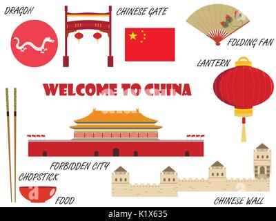 Welcome to China. Symbols of China. Set of icons. Vector. - Stock Photo