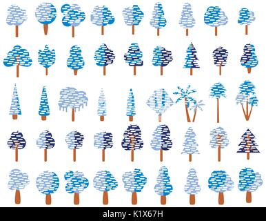 Flat trees in the snow in flat design. Winter trees on a white background. Vector icons. - Stock Photo