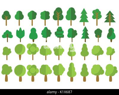Flat trees. Trees set in a flat design. Vector icons. - Stock Photo