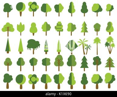 Flat trees in a flat design. Isolated on white. Vector icons. - Stock Photo