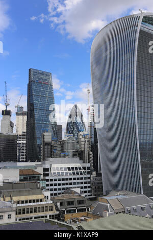 View from the Monument in the City of London, including the Gherkin, Walkie Talkie and Cheesegrater buildings. - Stock Photo