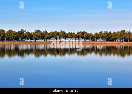 Europe, Slovenia, Istria. Reflection on the water of the Stunjan saltpans - Stock Photo