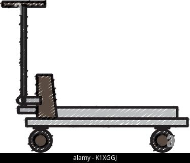platform trolley cargo cart delivery equipment icon - Stock Photo