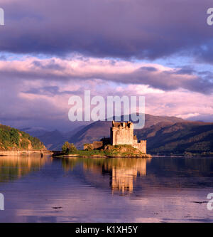 Eilean Donan Castle in early evening sunlight, Loch Duich, Kyle of Lochalsh, Scotland - Stock Photo
