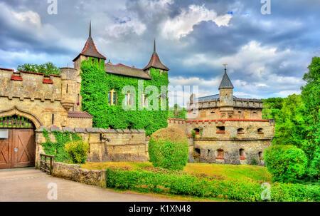 Entrance to Lichtenstein Castle in Baden-Wurttemberg, Germany - Stock Photo