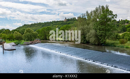 river untrut with weir and sluice near freyburg in central germany - Stock Photo