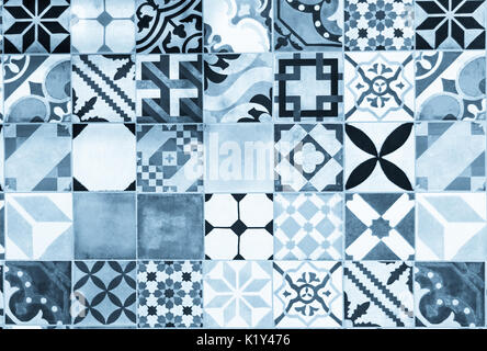 blue portuguese azulejo tiles - Stock Photo