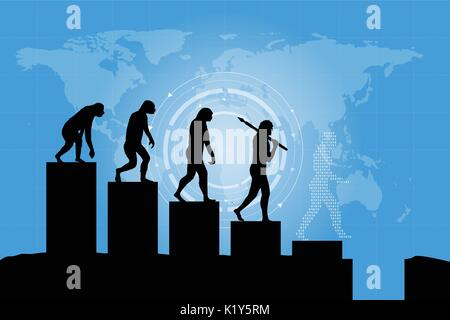 Human evolution into the present digital world. Business risk concept! Silhouette of human evolution in a negative - Stock Photo