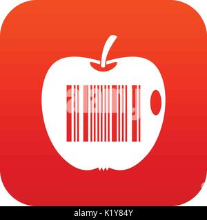 Code to represent product identification icon digital red - Stock Photo