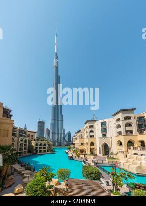 Burj Khalifa with artificial lake, Dubai, Emirate Dubai, United Arab Emirates - Stock Photo