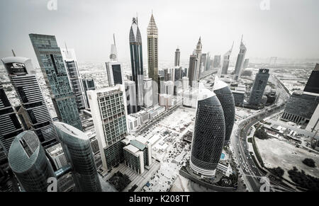 Skyscrapers and streets, Dubai, United Arab Emirates - Stock Photo