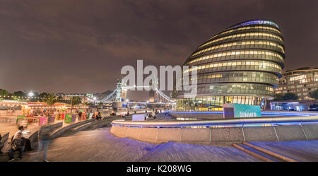 London City Hall, City Hall, at back Tower Bridge, More London Riverside, Southwark, London, England, United Kingdom - Stock Photo