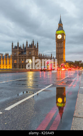 Westminster Bridge, Palace of Westminster, Houses of Parliament with reflection, Big Ben, City of Westminster, London, - Stock Photo