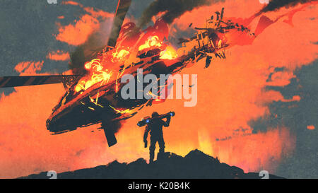 man holding rocket launcher standing against burning falling helicopter, digital art style, illustration painting - Stock Photo
