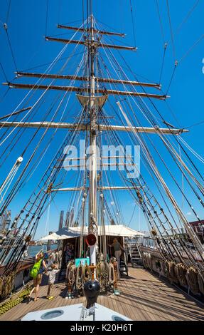 Texas, Galveston, Texas Seaport Museum, 1877 Tall Ship ELISSA - Stock Photo