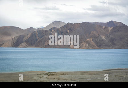 View of Pangong Lake in Ladakh, India. Pangong is an endorheic lake in the Himalayas situated at a height of about - Stock Photo