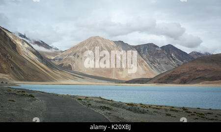 View of Pangong Lake at winter in Ladakh, India. Pangong is an endorheic lake in the Himalayas situated at a height - Stock Photo