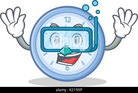 Diving clock character cartoon style - Stock Photo