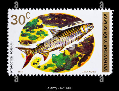 Postage stamp from rwanda depicting the painting woman for Fish n gari