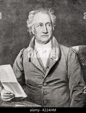 Johann Wolfgang von Goethe, 1749 –  1832.  German writer and statesman. From International Library of Famous Literature, - Stock Photo