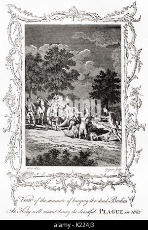 View of the manner of burying the dead bodies at Holy-well mount during the dreadful plague of 1665.  From a rare - Stock Photo
